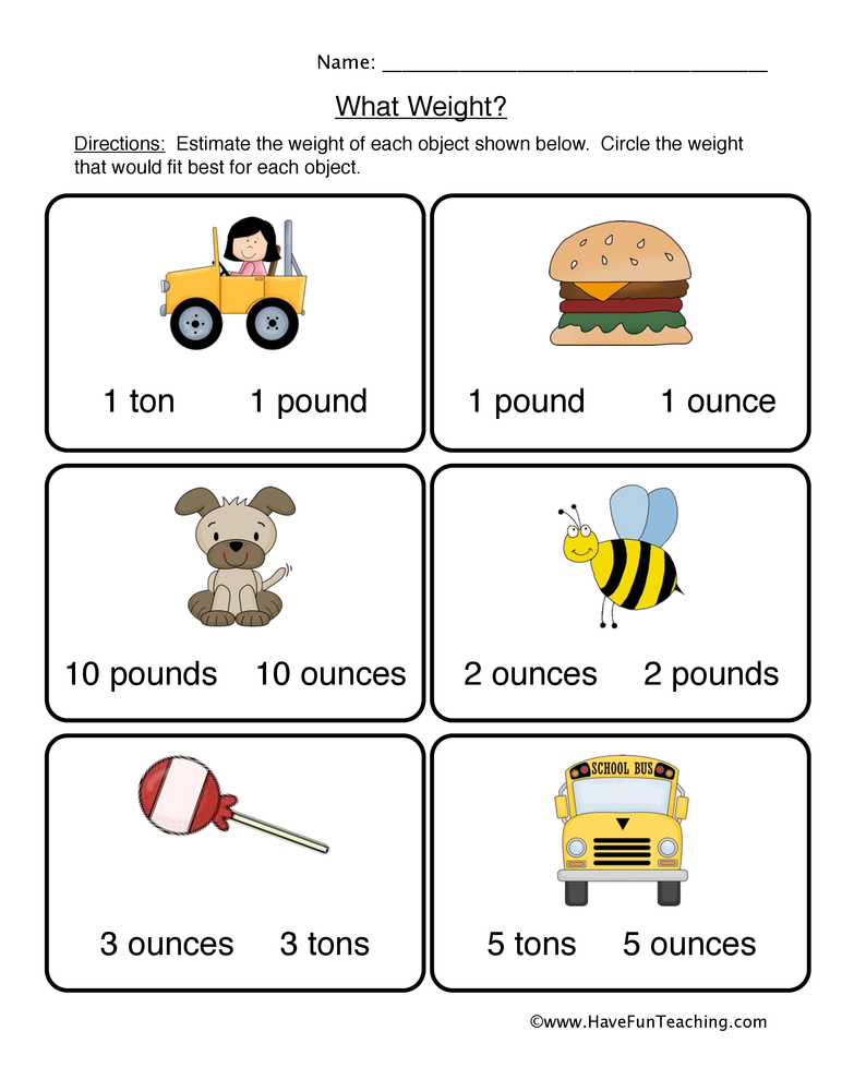 Measurement Worksheets for Kids - Have Fun Teaching