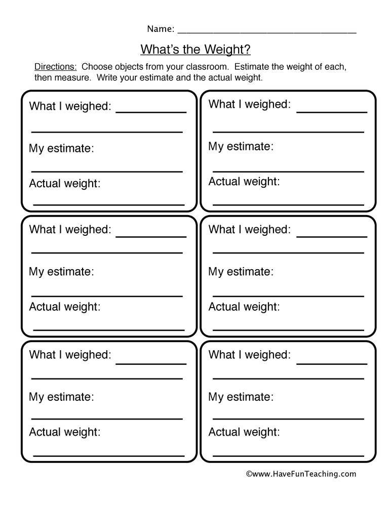 weight worksheet 2