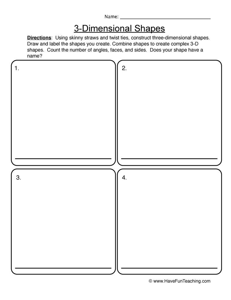 3 D shapes worksheet 1