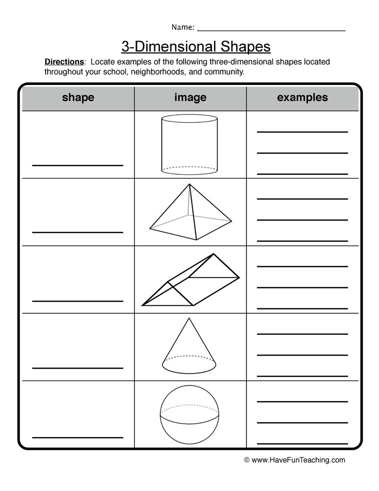 math worksheet : shapes worksheets  have fun teaching : 3d Worksheets For Kindergarten