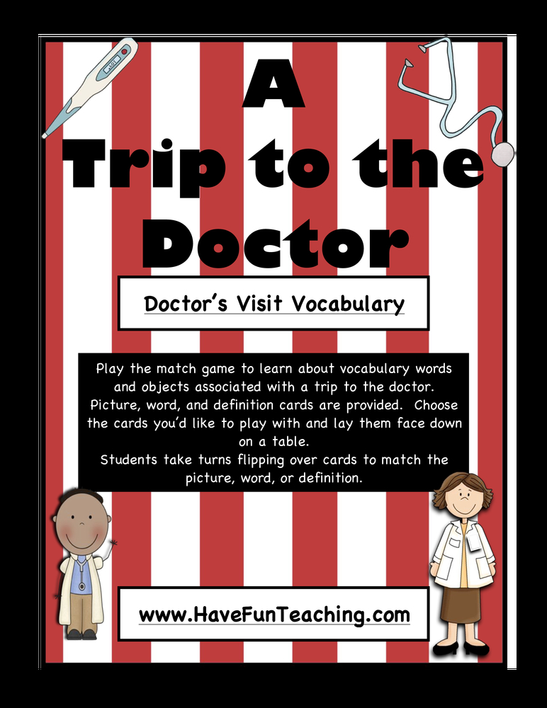 a trip to the doctor vocabulary activity