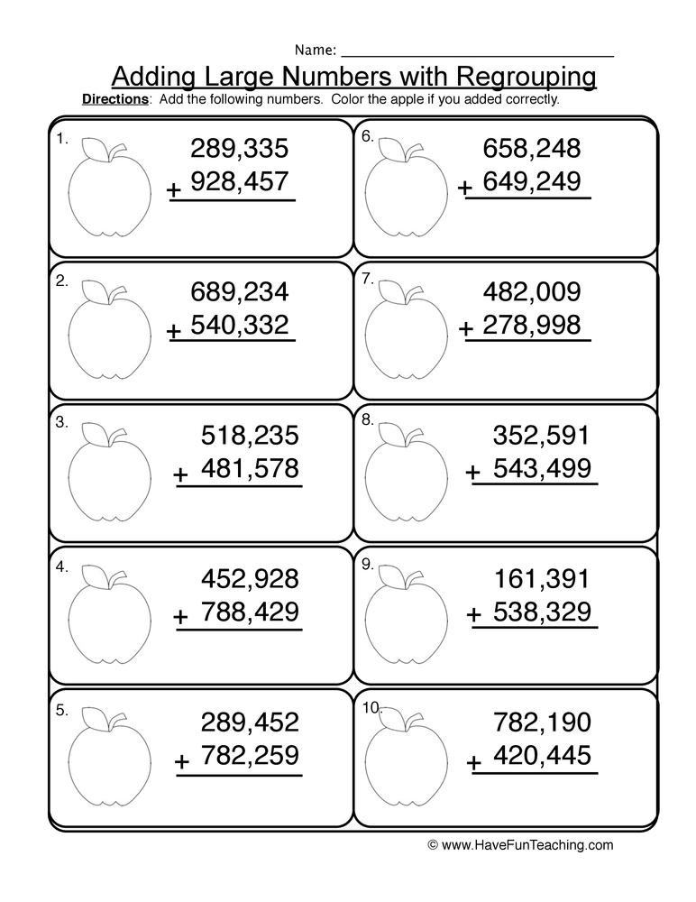 adding hundred thousands regrouping worksheet 2