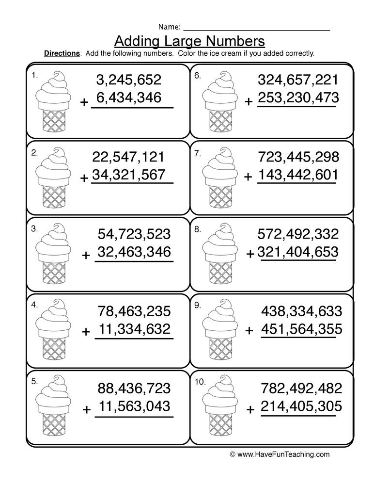 adding millions no regrouping worksheet 2