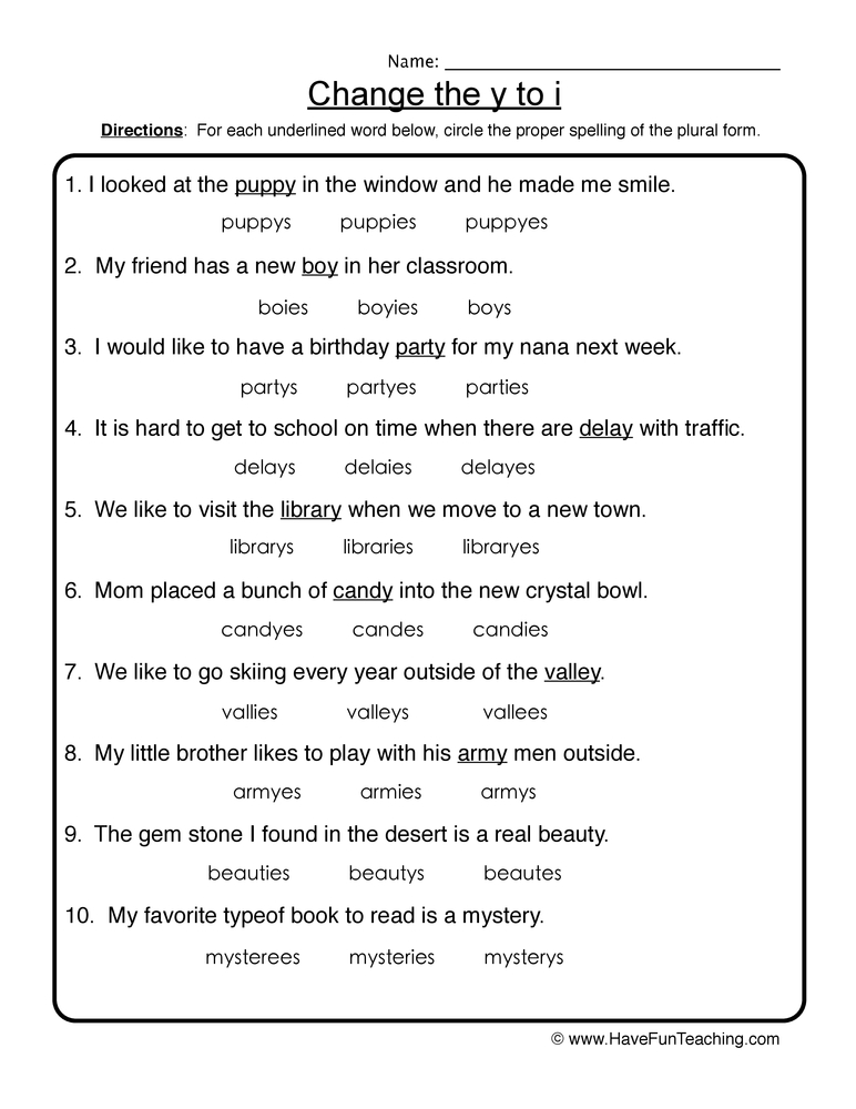 change y to i worksheet 1