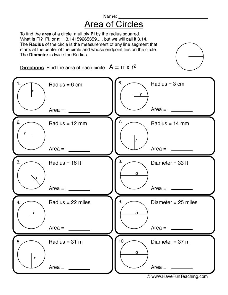 Area Worksheets – Area of a Circle Worksheet