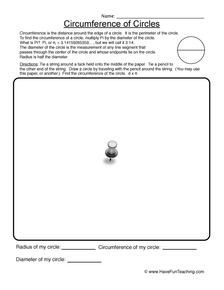 Circumference Worksheets – Circumference of Circle Worksheet