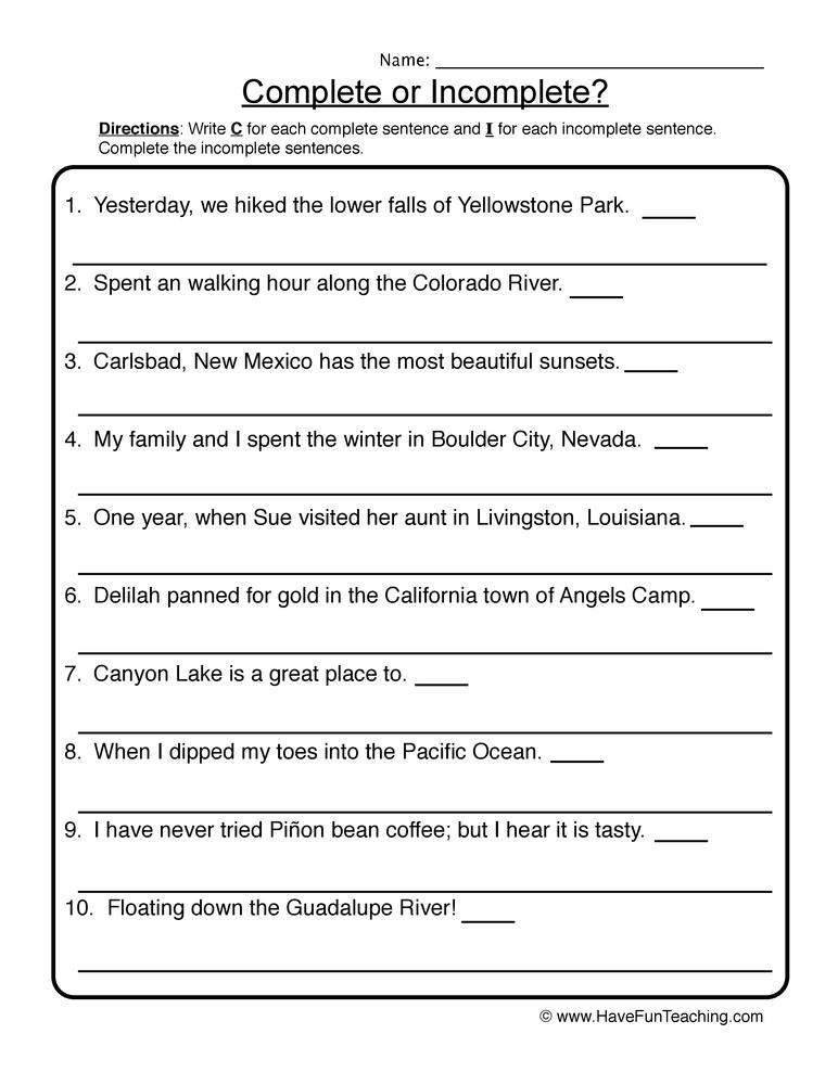 complete incomplete sentences worksheet 1
