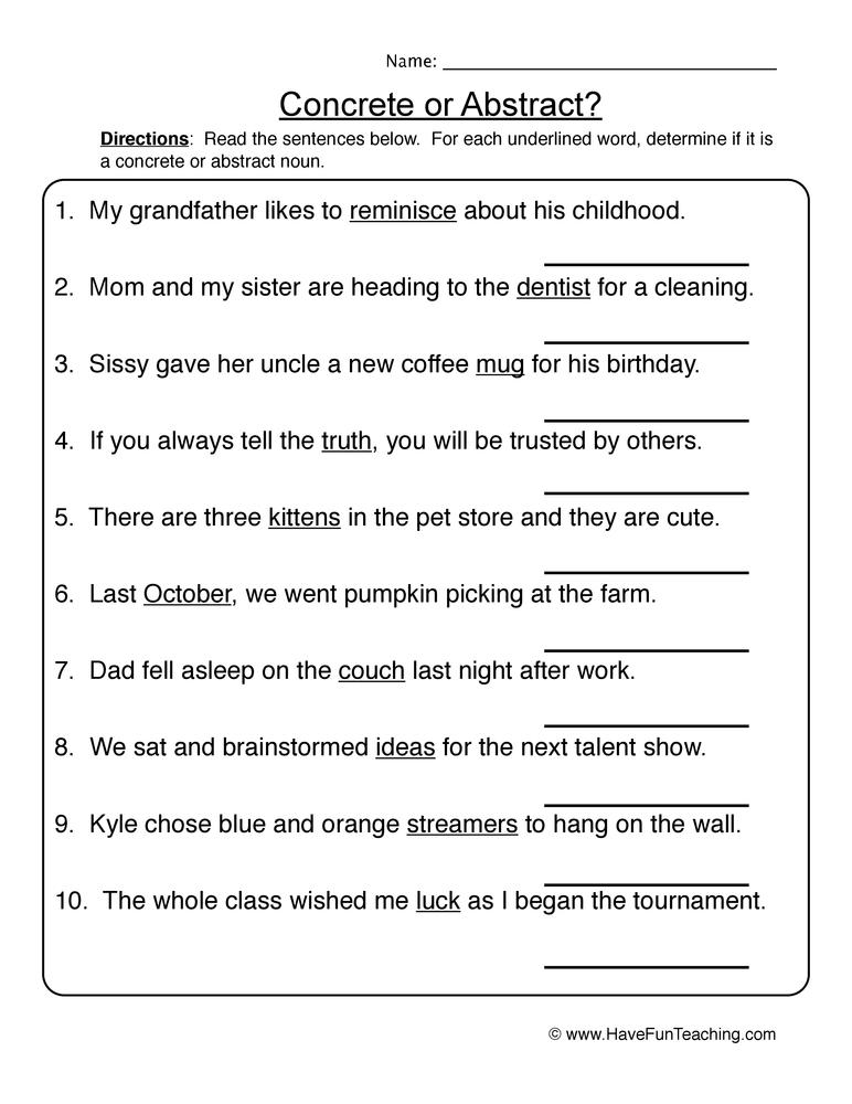 Noun Worksheets – 1st Grade Noun Worksheets