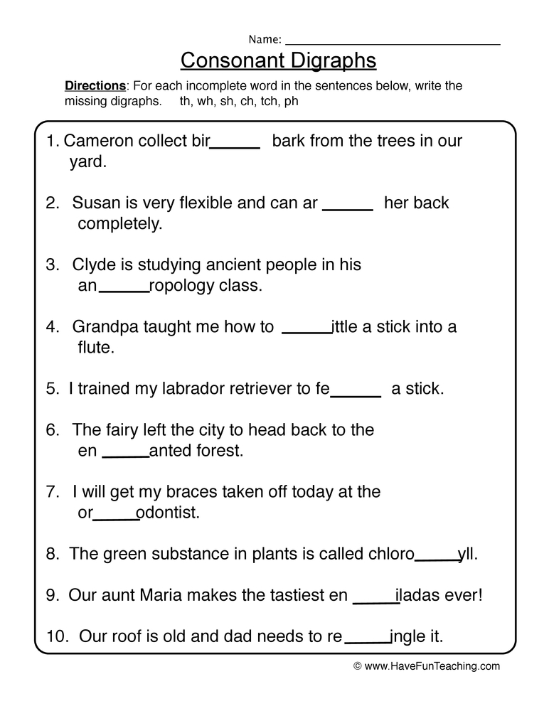 consonent digraphs worksheet 1