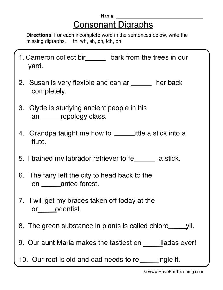 Consonant Digraphs Worksheet