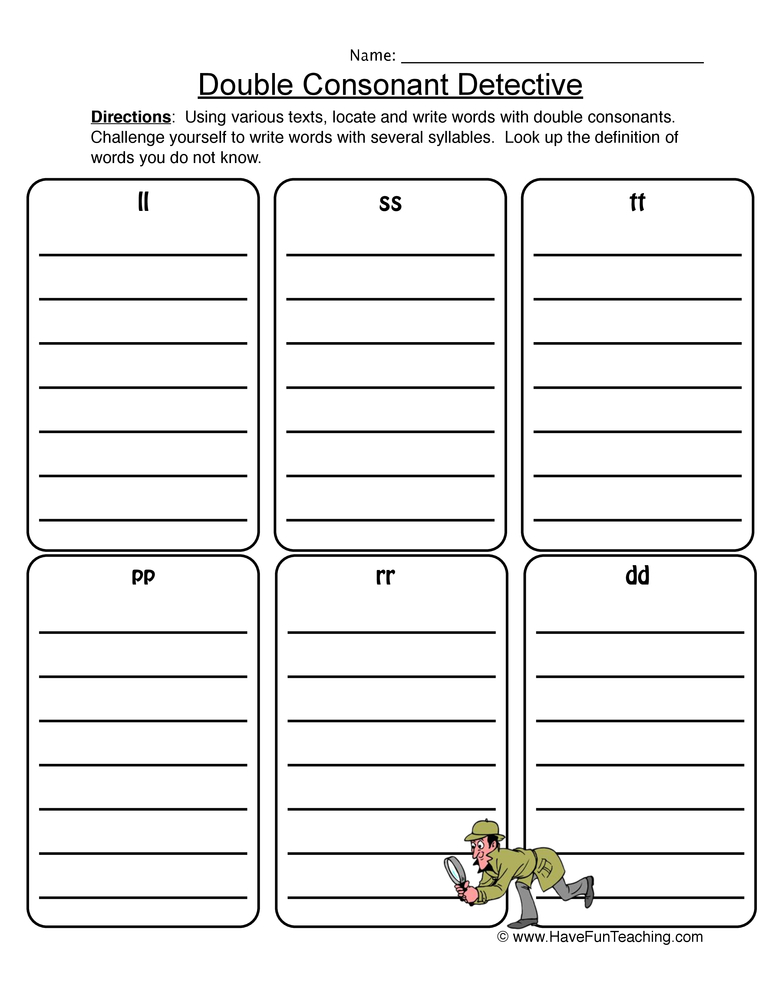 double consonant worksheet 1