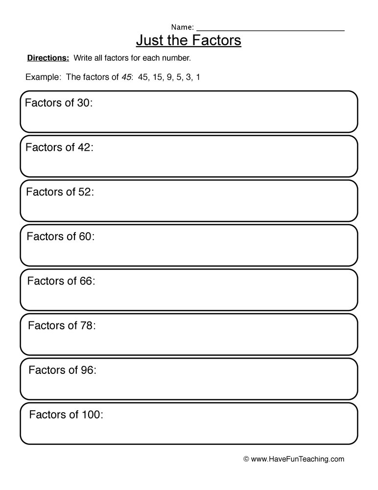 Factors Worksheets - Have Fun Teaching