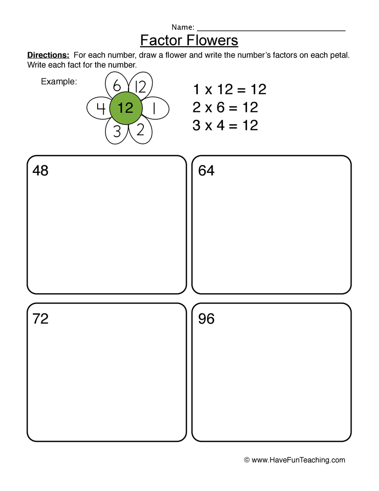factors worksheet 2
