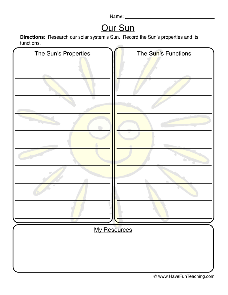 our sun worksheet