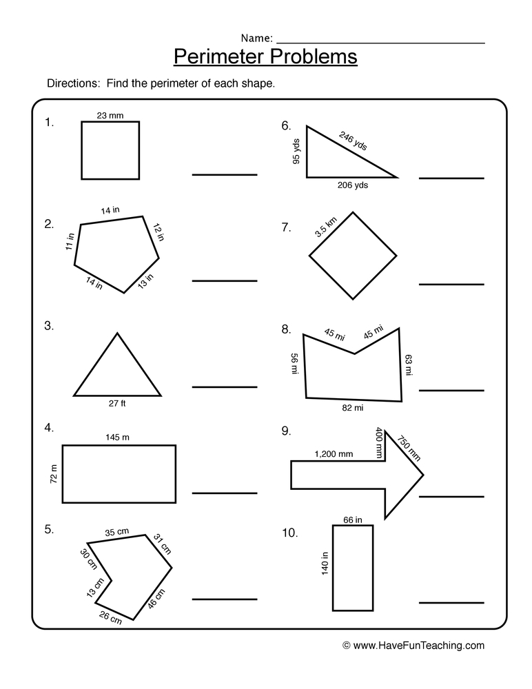 Printable Worksheets simple perimeter worksheets : Perimeter Worksheets | Have Fun Teaching