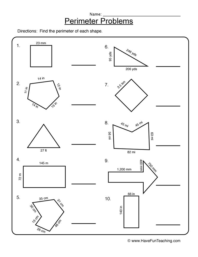 Perimeter Problems Worksheet 1