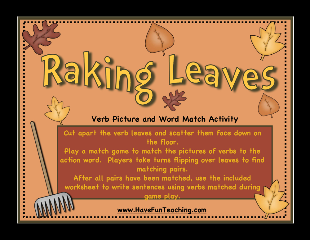 raking leaves verbs activity