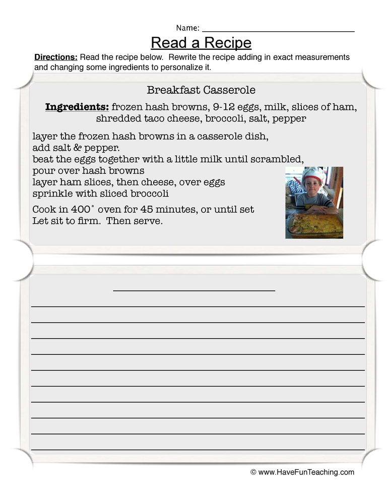 read recipe worksheet