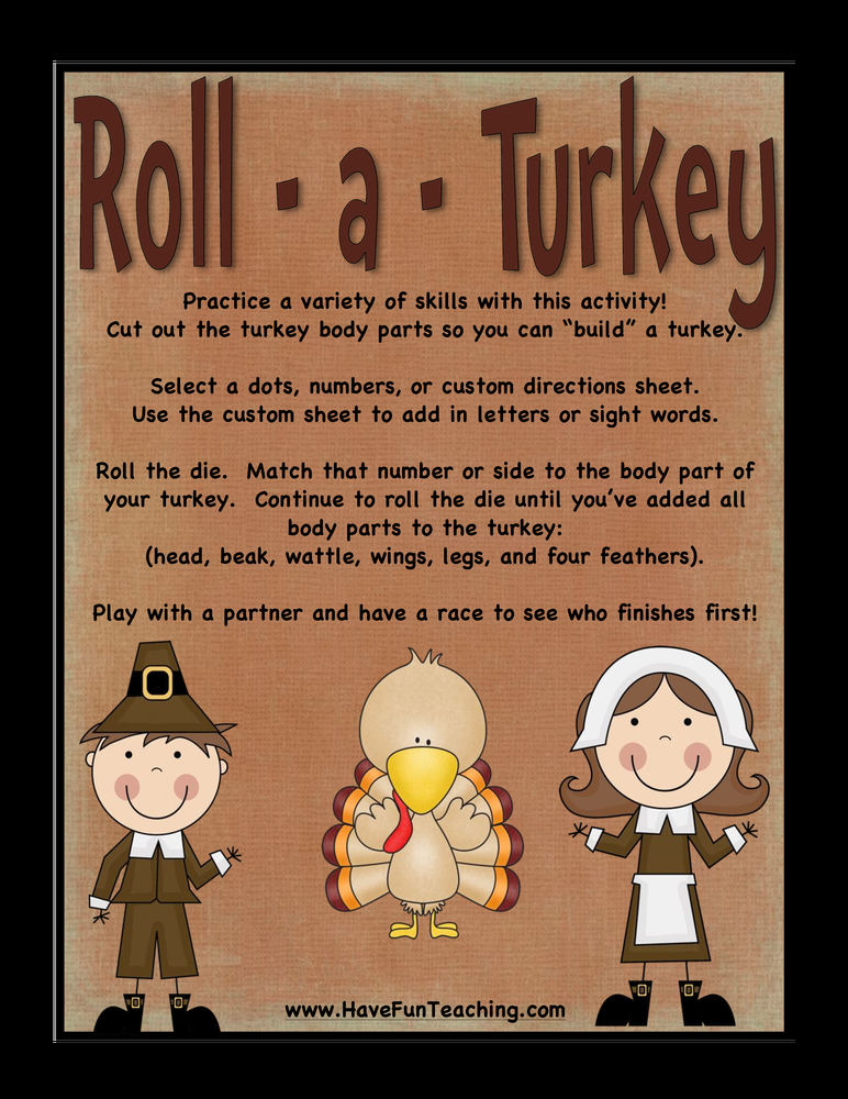roll a turkey thanksgiving activity