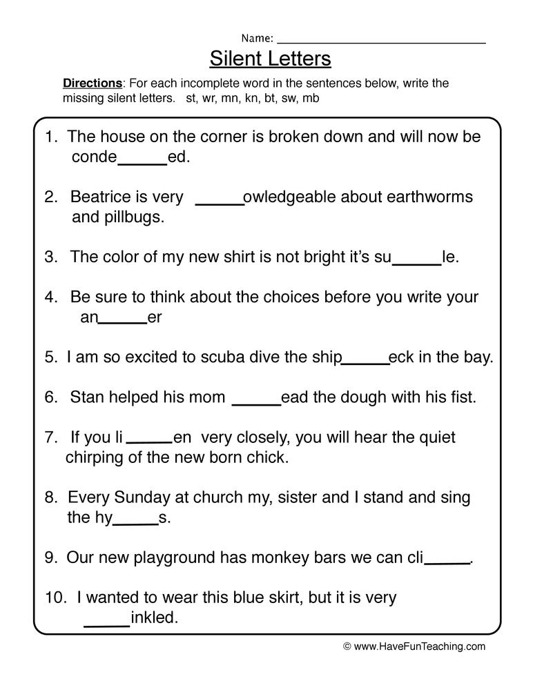 silent letters worksheet 1