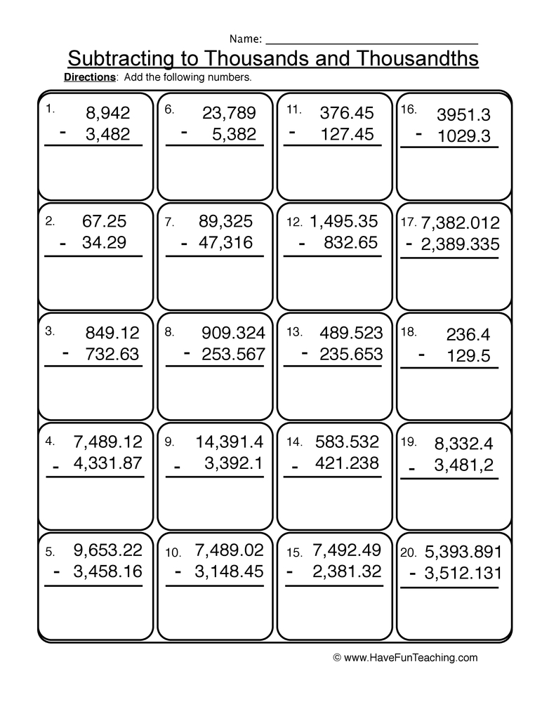 Subtracting Thousands Thousandths Worksheet