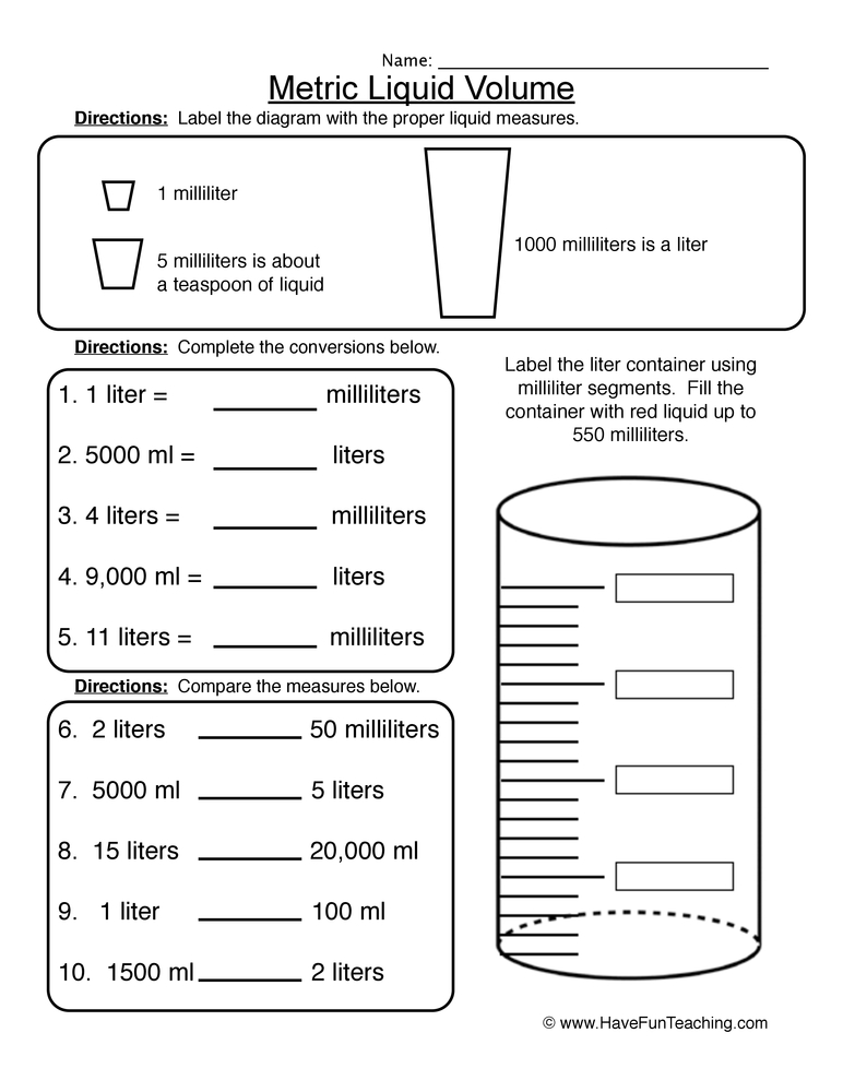 volume worksheet 4