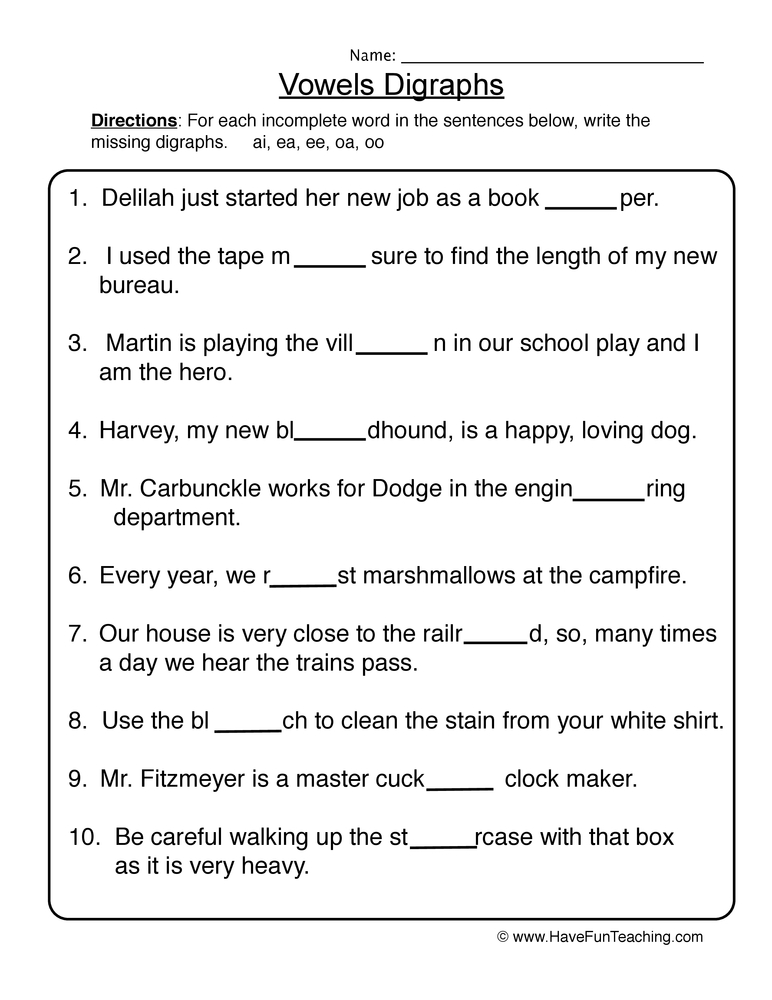Printables Vowel Digraph Worksheets vowel digraphs worksheet 1 1