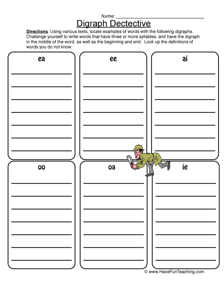 Phonics Digraphs Worksheets Resources