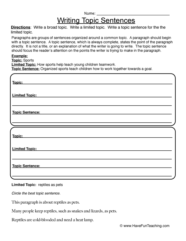 Printables Topic Sentence Worksheet writing topic sentences worksheet worksheet