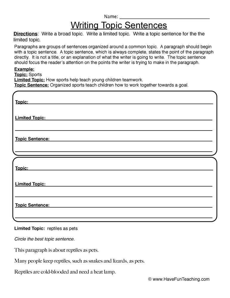 writing topic sentences worksheet