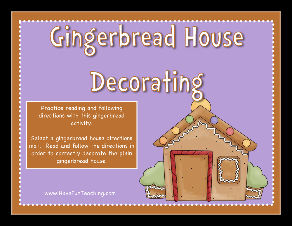 Following Directions Gingerbread Activity