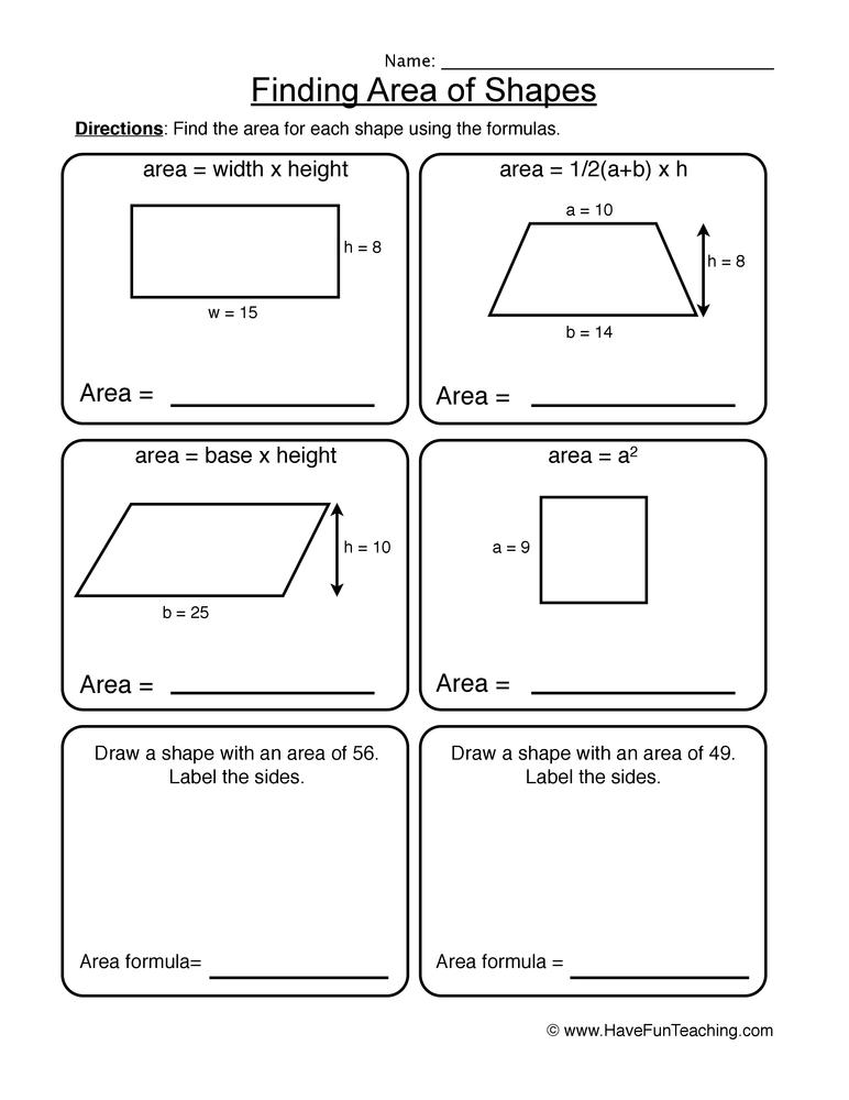 area worksheet 2