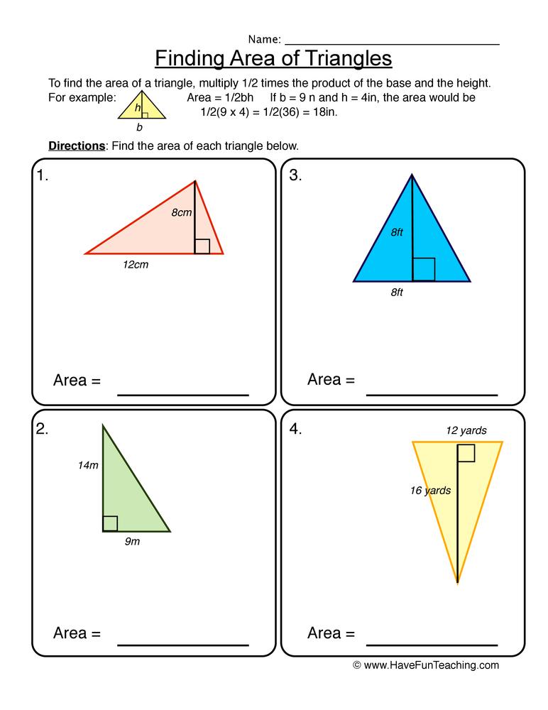 area worksheet 3