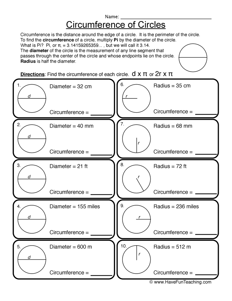 circles worksheet 1