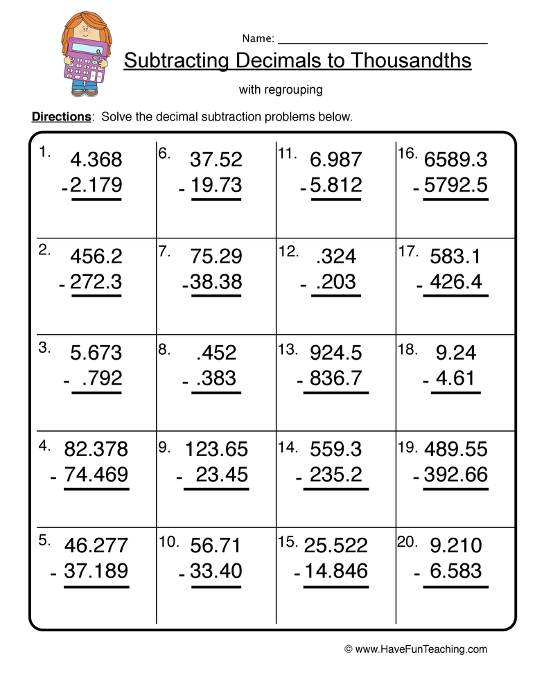 decimal subtraction thousands worksheet 2