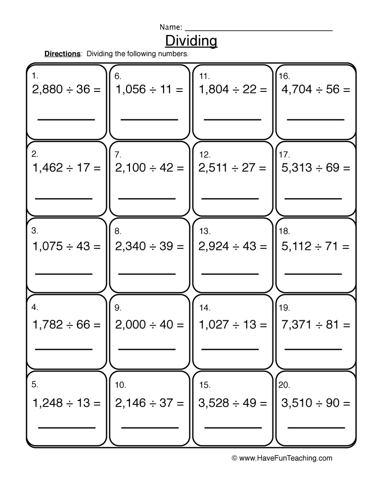 Division Worksheets Have Fun Teaching. Dividing 2 4 Digit Worksheet. Worksheet. Dividing By 2 Worksheets At Clickcart.co