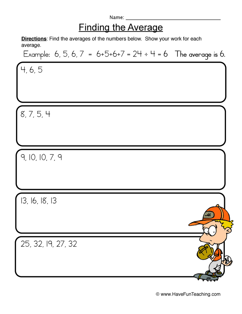 finding average worksheet 1