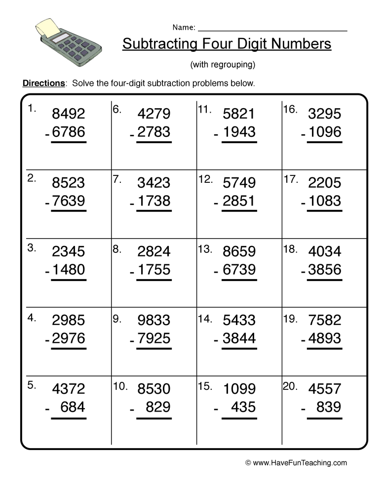 four digit subtraction worksheet 2