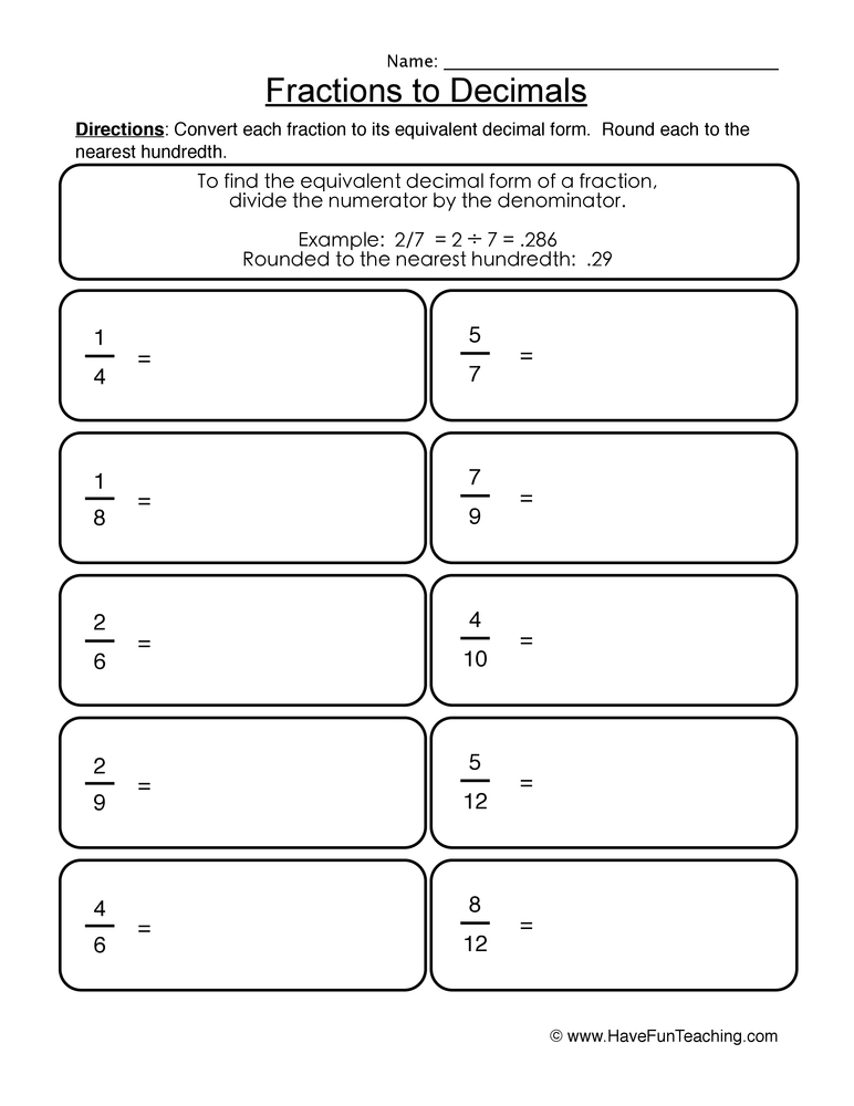 fractions decimals worksheet 1