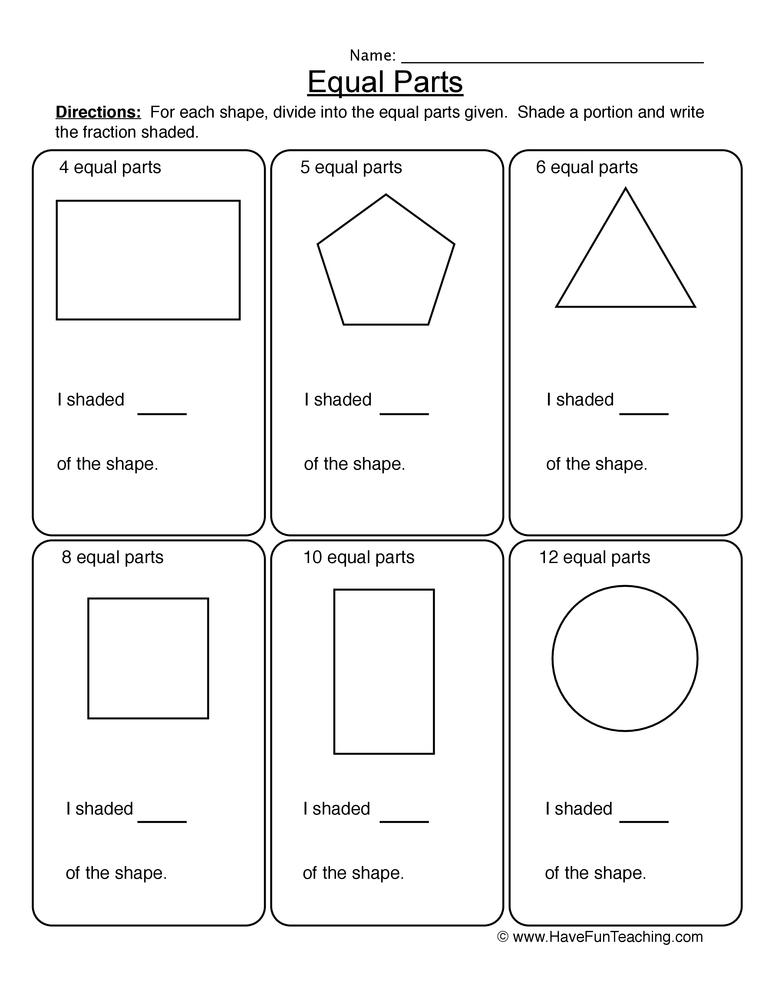 fractions equal parts worksheet 1