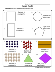 fractions equal parts worksheet 1