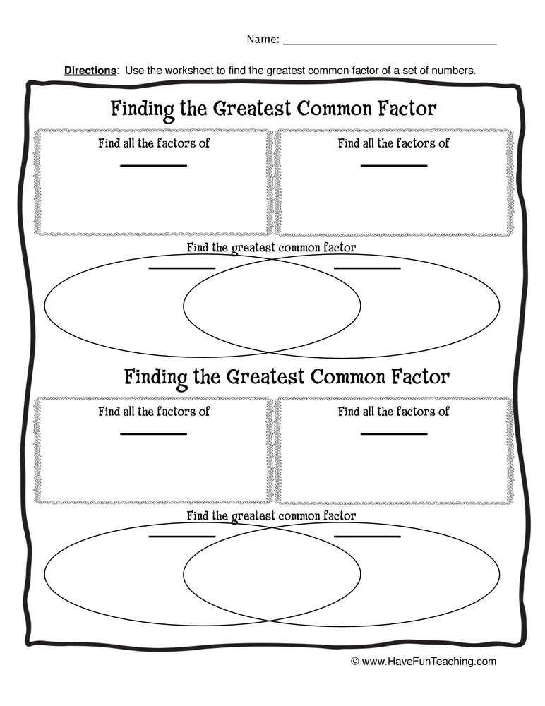 Blank Greatest Common Factor Worksheet • Have Fun Teaching