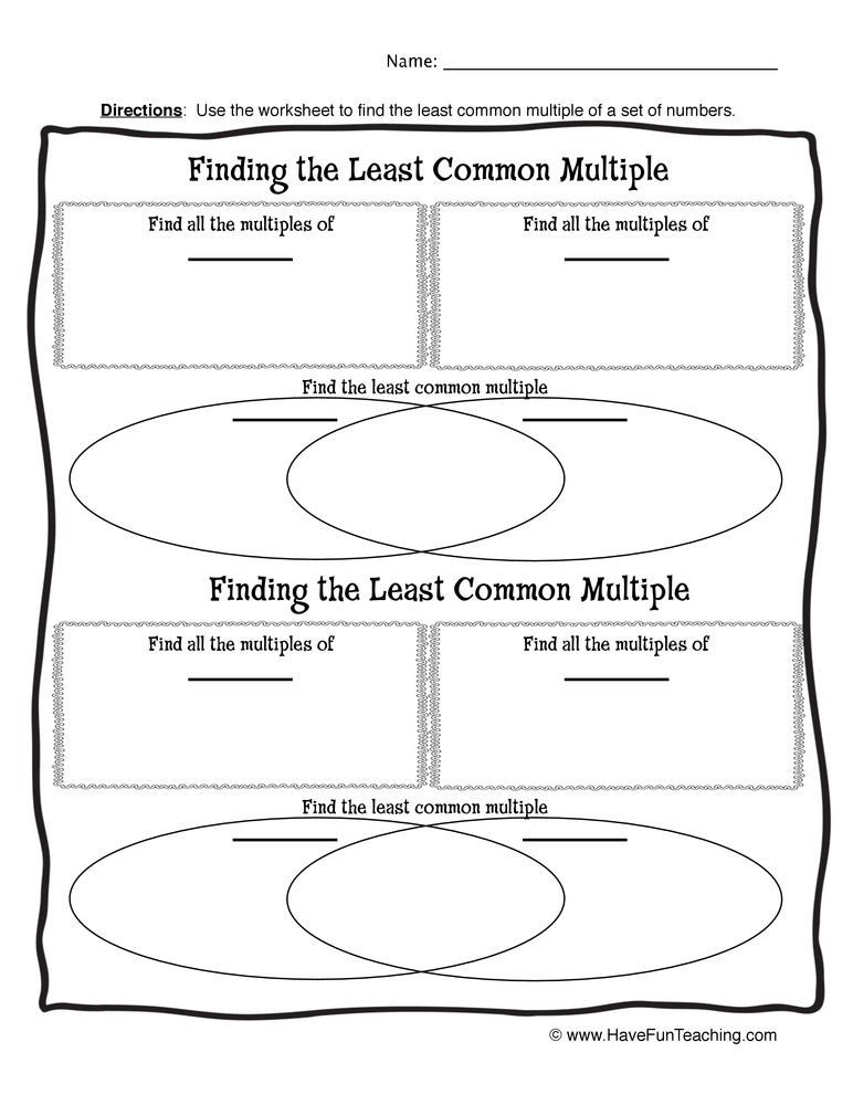 math worksheet : least common multiple worksheet 2 : Least Common Multiple Worksheets