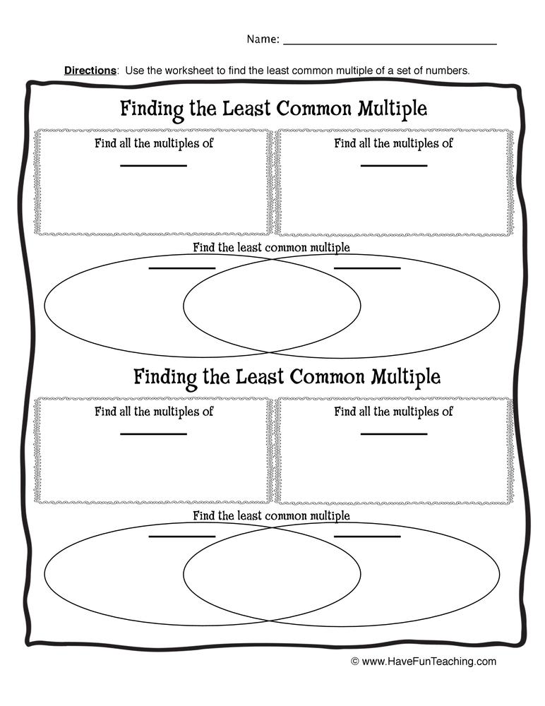 least common multiple worksheet 2