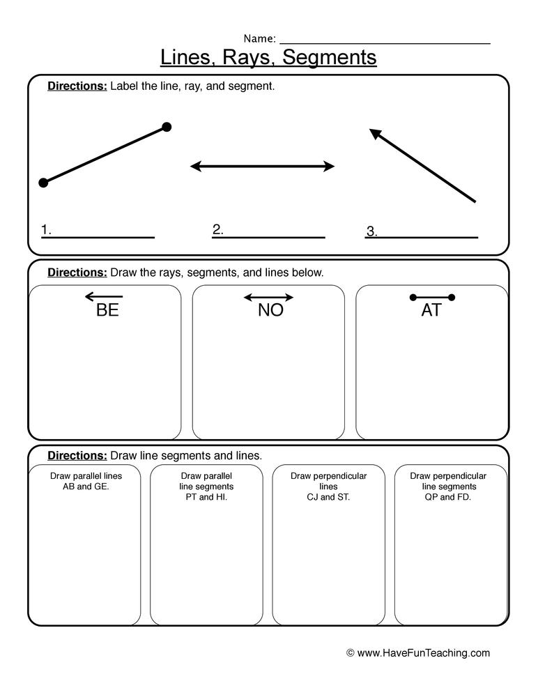 lines rays segments worksheet 1