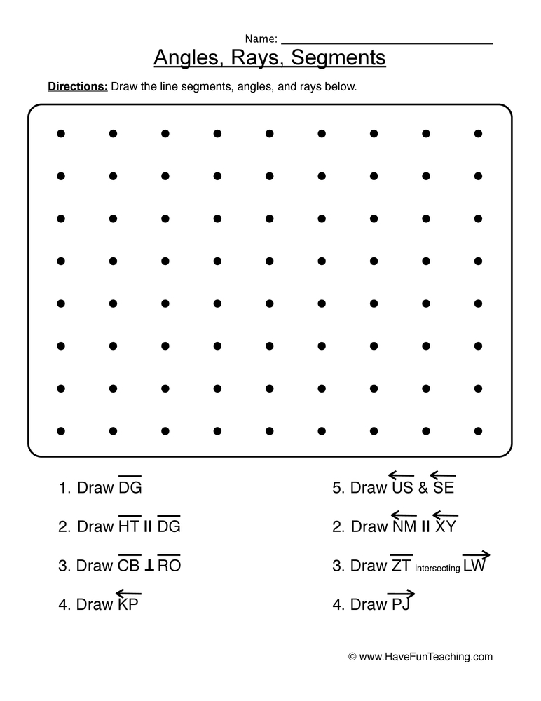 Worksheets Worksheets On Lines Segments And Rays lines rays and segments worksheet 2 2
