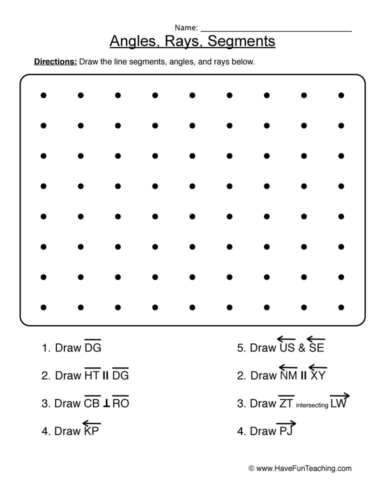 lines rays segments worksheet 2