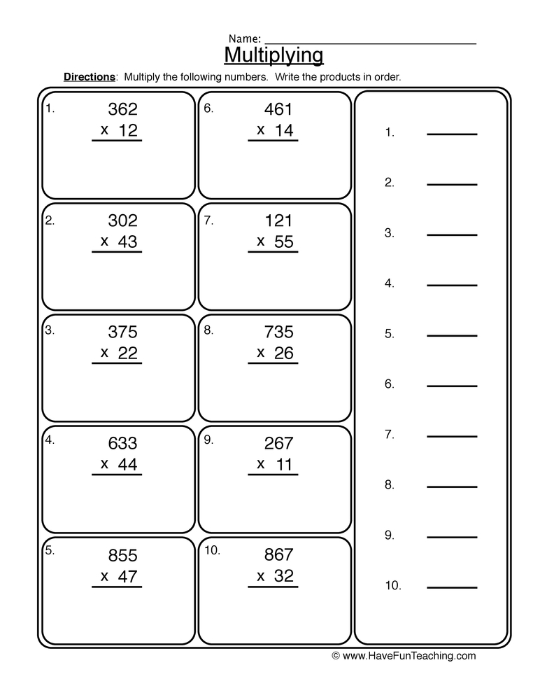 multiplication 2x3 digit worksheet 2