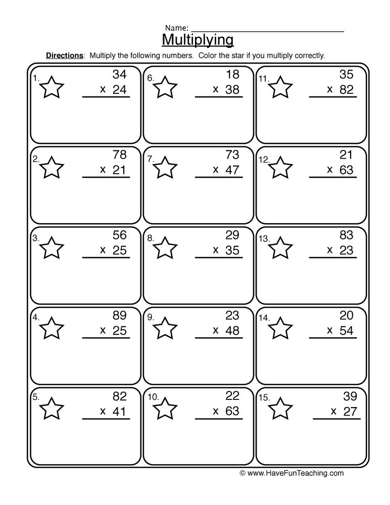 multiplication 2 digit worksheet 1