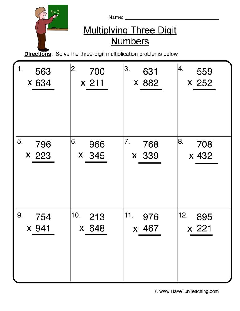 three digit multiplication worksheet 2